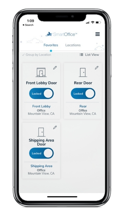 An iPhone mockup showing the group by location favorites tab of the SmartOffice iOS app